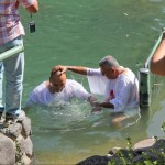Baptising in the Jordan river