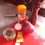 Pepper, thyme, garlic, stock cube
